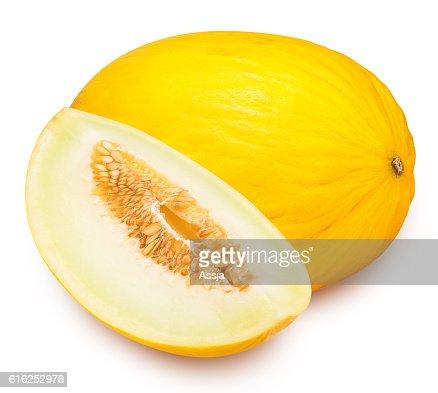 Set of yellow melon isolated on white background : Stock Photo