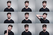 Set of man's portraits with different emotions