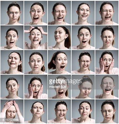 Conjunto de mujer joven con diferentes emociones de Retratos : Foto de stock