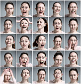 Set of young woman's portraits with different emotions on gray background