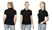 Set promo pose girl in blank black polo shirt mockup design for print and concept template young woman in T-shirt front and half turn side back view isolated white background with clipping path.