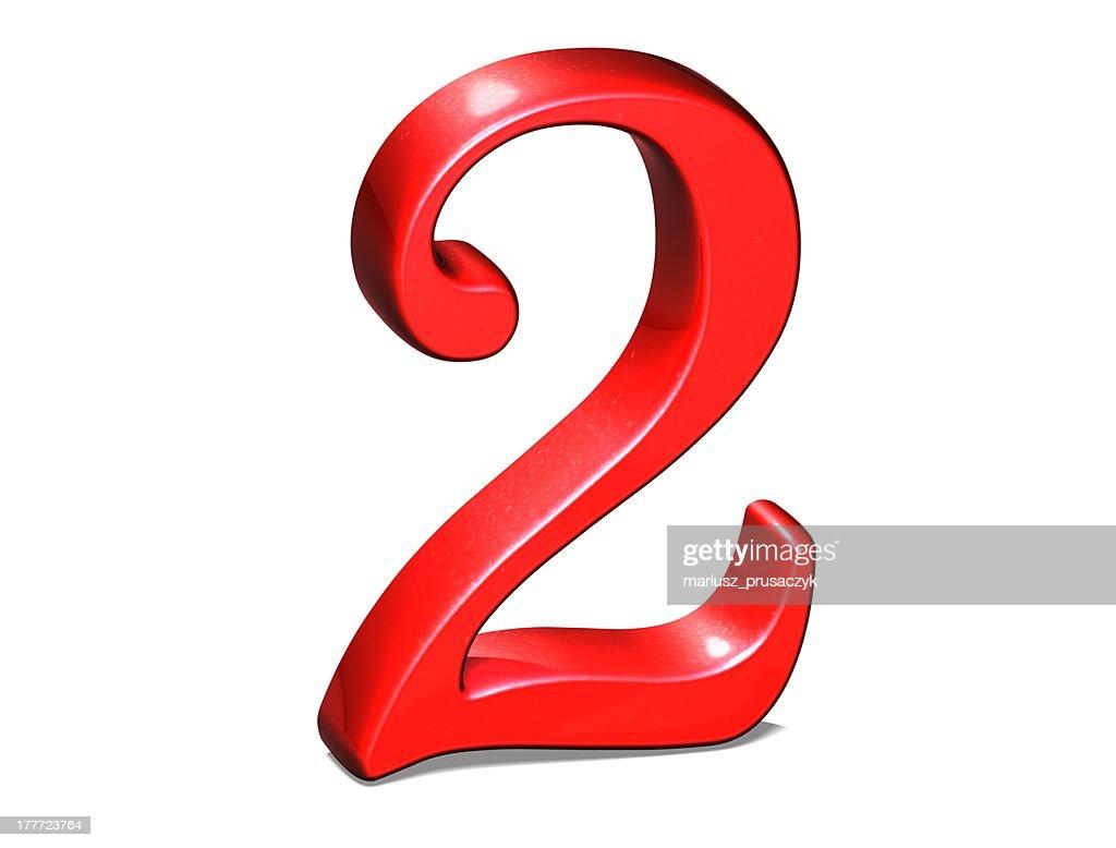 Aislado, número 2, rojo blanco, 3d. -, aislado, número,... imagen ...