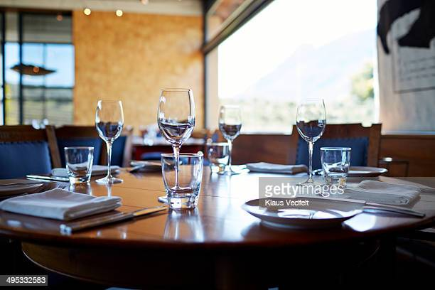 Set table at high-end restaurant