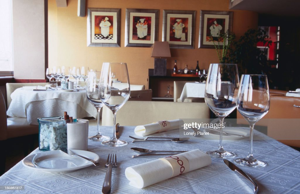 Set table at Spoon restaurant. : Stock Photo