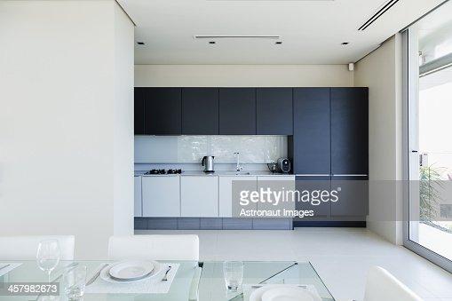 Set table in modern kitchen