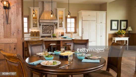 Set table in open dining area