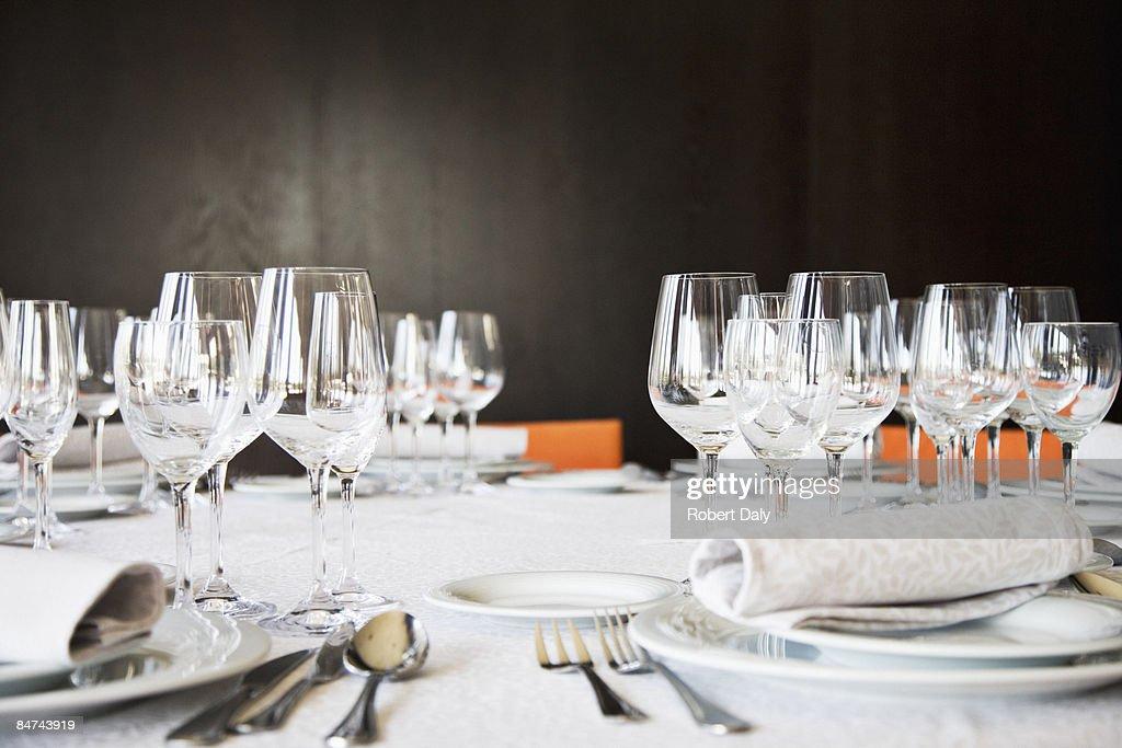 Set table in restaurant : Stock Photo