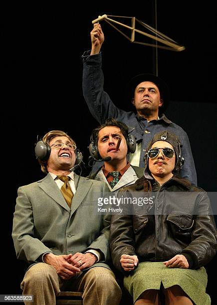 Set up scenes from the new satire from leading Chicano comedy troupe Culture Clash at Mark Taper Forum May 11 2003 Photo inside helicopter seated l–r...