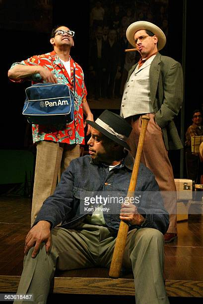 Set up scenes from the new satire from leading Chicano comedy troupe Culture Clash at Mark Taper Forum May 11 2003 Photo of seated Herbert Siguenza...