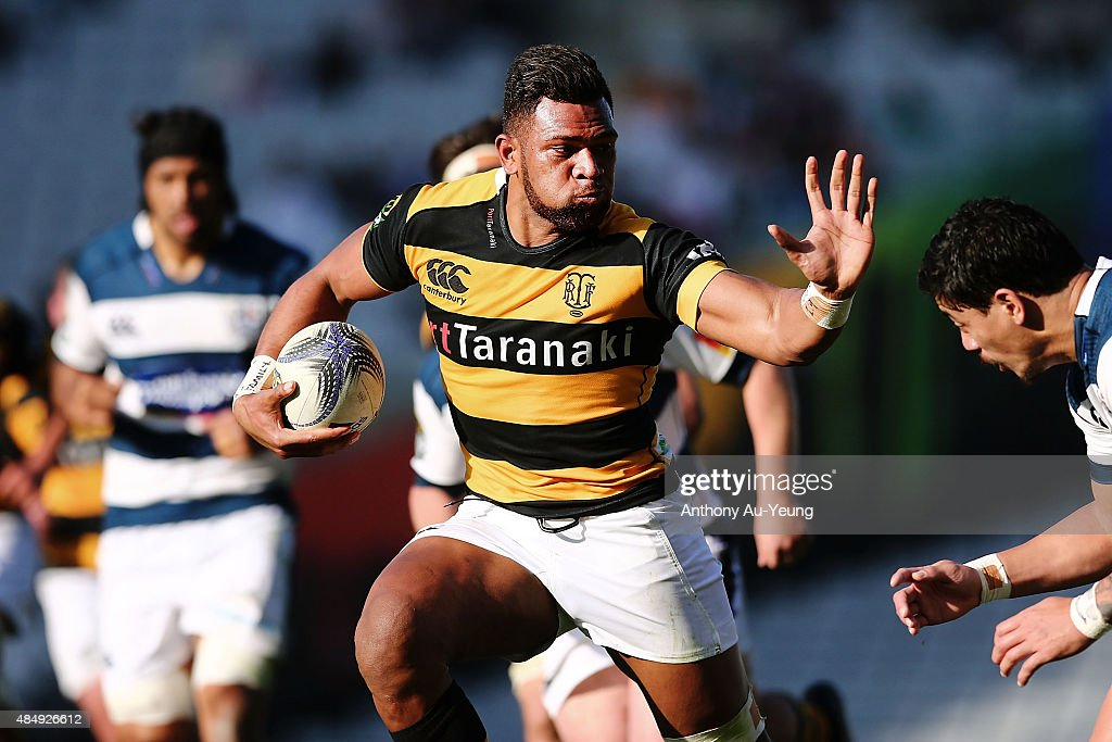 Seta Tamanivalu of Taranaki fends against Ben Lam of Auckland during the round two ITM Cup match between Auckland and Taranaki at Eden Park on August...