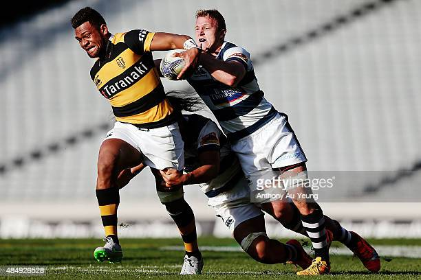 Seta Tamanivalu of Taranaki on the charge during the round two ITM Cup match between Auckland and Taranaki at Eden Park on August 23 2015 in Auckland...