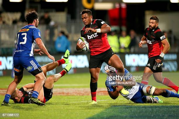 Seta Tamanivalu of the Canterbury Crusaders is tackled during the Super Rugby match between New Zealand's Canterbury Crusaders and South Africa's...