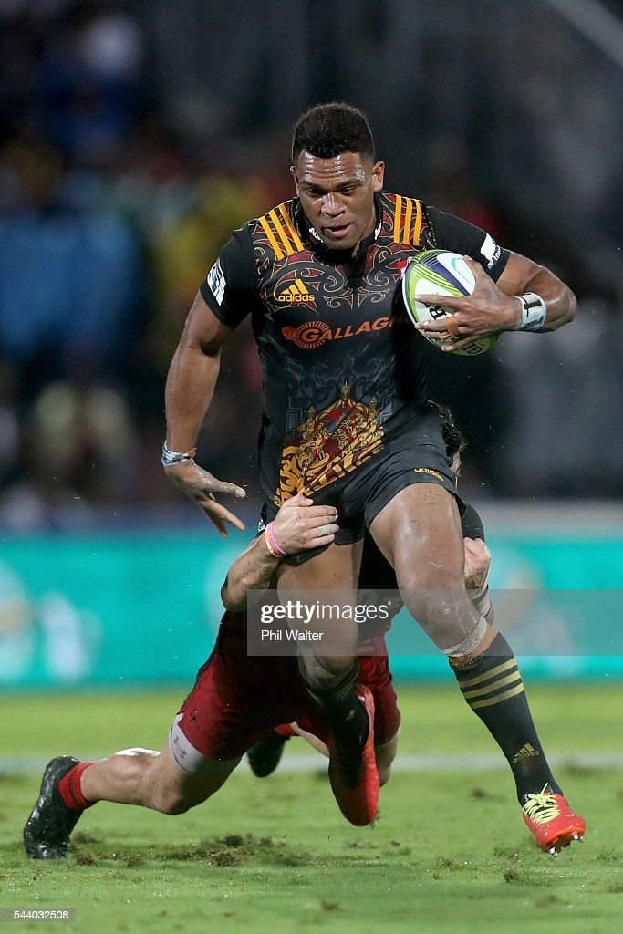 <a gi-track='captionPersonalityLinkClicked' href=/galleries/search?phrase=Seta+Tamanivalu&family=editorial&specificpeople=9743583 ng-click='$event.stopPropagation()'>Seta Tamanivalu</a> of the Chiefs is tackled during the round 15 Super Rugby match between the Chiefs and the Crusaders at ANZ Stadium on July 1, 2016 in Suva, Fiji.