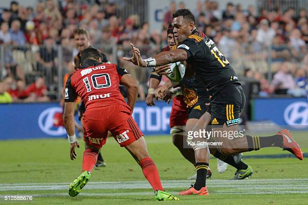 Seta Tamanivalu of the Chiefs runs through to score a try during the round one Super Rugby match between the Crusaders and the Chiefs at AMI Stadium...