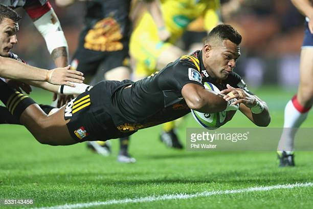 Seta Tamanivalu of the Chiefs scores a try during the round 13 Super Rugby match between the Chiefs and the Rebels at FMG Stadium on May 21 2016 in...