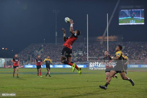 Seta Tamanivalu of the Crusaders catches the ball during the round 12 Super Rugby match between the Crusaders and the Hurricanes at AMI Stadium on...