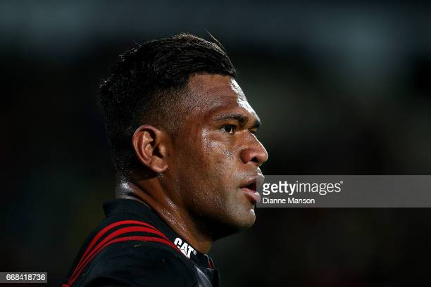 Seta Tamanivalu of the Crusaders looks on during the round eight Super Rugby match between the Crusaders and the Sunwolves at AMI Stadium on April 14...