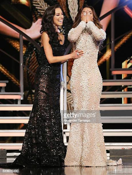 Setareh Khatibi and Clarissa Molina are seen on stage as Clarissa Molina is crowned the winner during the 'Nuestra Belleza Latina' Grand Finale at...