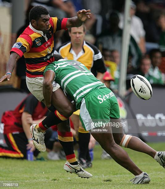 Setariki Nabanisau of Waikato gets tackled by Simeli Tuiteci of Manawatu during day two of the New Zealand National Sevens competition at Queenstown...
