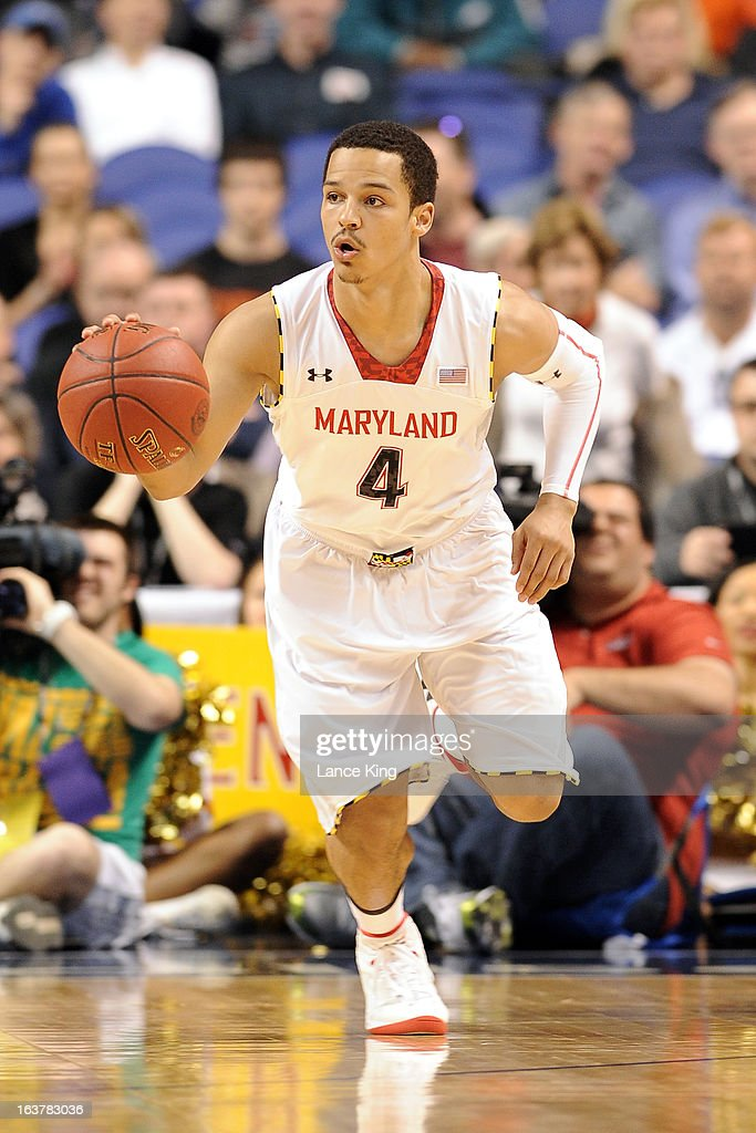 Seth Allen #4 of the Maryland Terrapins dribbles up court against the Wake Forest Demon Deacons during the first round of the 2013 Men's ACC Tournament at the Greensboro Coliseum on March 14, 2013 in Greensboro, North Carolina. Maryland defeated Wake Forest 75-62.