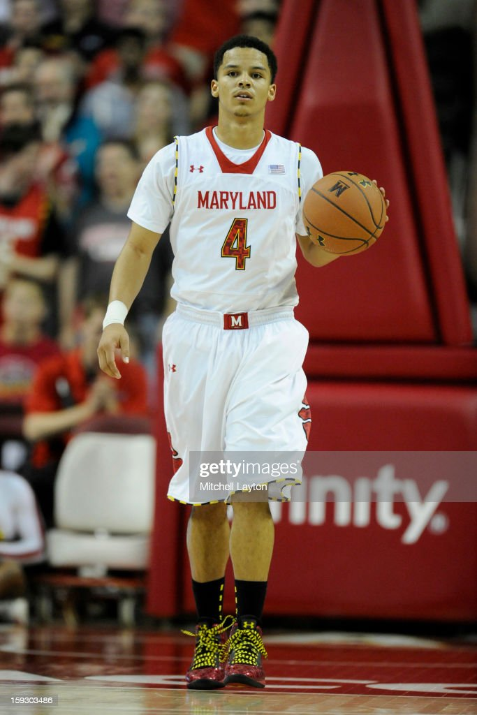 Seth Allen #4 of the Maryland Terrapins dribbles up court during a college basketball game against the Florida State Seminoles on January 9, 2013 at the Comcast Center in College Park, Maryland. The Seminoles won 65-62.