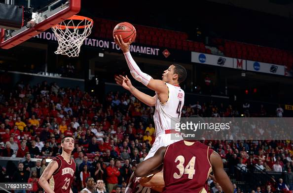 Seth Allen of the Maryland Terrapins drives to the hoop against the Denver Pioneers during the second round of the NIT Basketball Tournament at the...