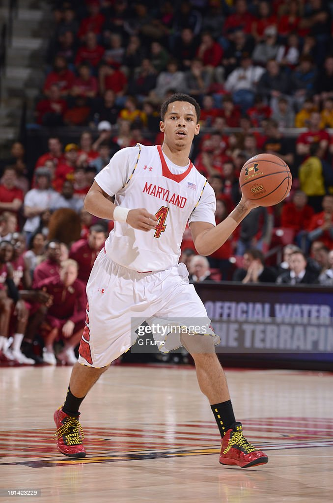 Seth Allen #4 of the Maryland Terrapins handles the ball against the Florida State Seminoles at the Comcast Center on January 9, 2013 in College Park, Maryland.