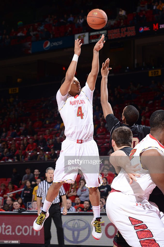 Seth Allen #4 of the Maryland Terrapins shoots the ball against the IUPUI Jaguars at the Comcast Center on January 1, 2013 in College Park, Maryland.