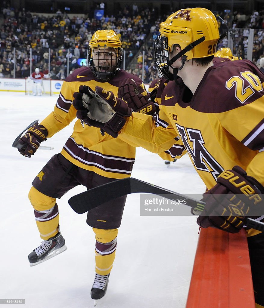 Seth Ambroz #17 of the Minnesota Golden Gophers celebrates a goal against the St. Cloud State Huskies during the second period of the final game in the West Regional of the 2014 NCAA Division I Men's Ice Hockey Championship on March 30, 2014 at Xcel Energy Center in St Paul, Minnesota. The Minnesota Golden Gophers defeated the St. Cloud State Huskies 4-0.