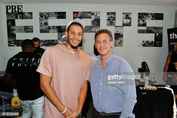Seth Curry and GBK Productions CEO Gavin Keilly attend the GBK PreESPY Event at Luxe On Rodeo Drive on July 11 2017 in Beverly Hills California