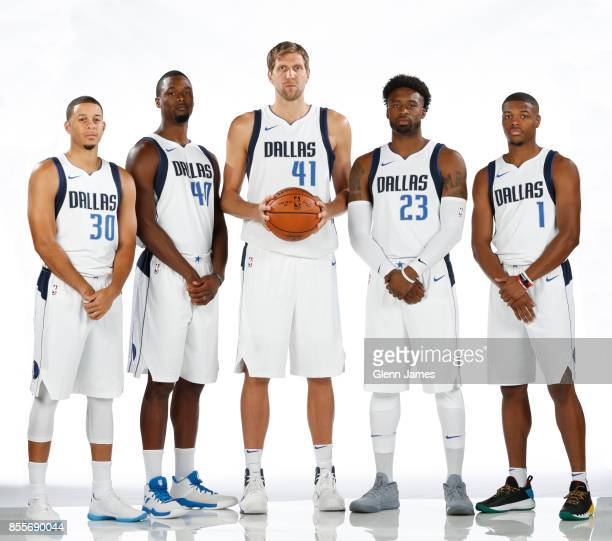 Seth Curry Harrison Barnes Dirk Nowitzki Wesley Matthews and Dennis Smith Jr #1 of the Dallas Mavericks pose for a portrait during the Dallas...