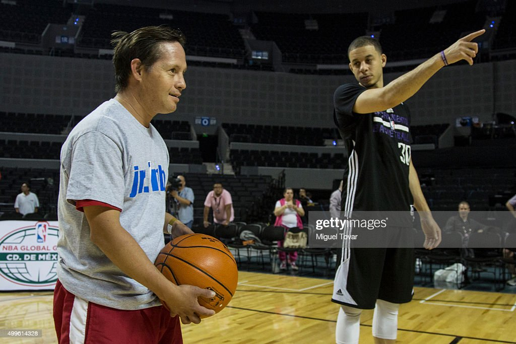 Seth Curry NBA player of the Sacramento Kings practices with Mexican Special Olympic athletes during the NBA Cares clinic at Arena Ciudad de Mexico...
