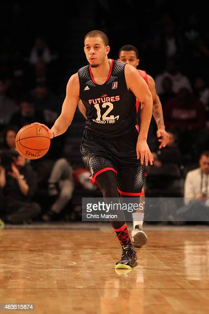 Seth Curry of Team Futures dribbles the ball during the NBA DLeague AllStar Game 2015 as part of the 2015 NBA AllStar Weekend on February 15 2015 at...
