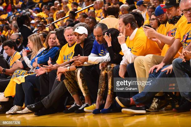 Seth Curry of the Dallas Mavericks and Former NBA player Dell Curry attend Game Two the Western Conference Semifinals between the Utah Jazz and the...