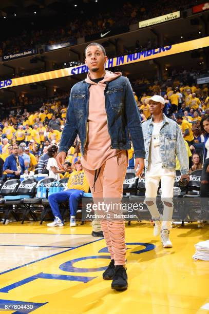 Seth Curry of the Dallas Mavericks attends Game One of the Western Conference Semifinals between the Utah Jazz and the Golden State Warriors during...