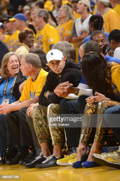Seth Curry of the Dallas Mavericks attends Game Two the Western Conference Semifinals between the Utah Jazz and the Golden State Warriors during the...