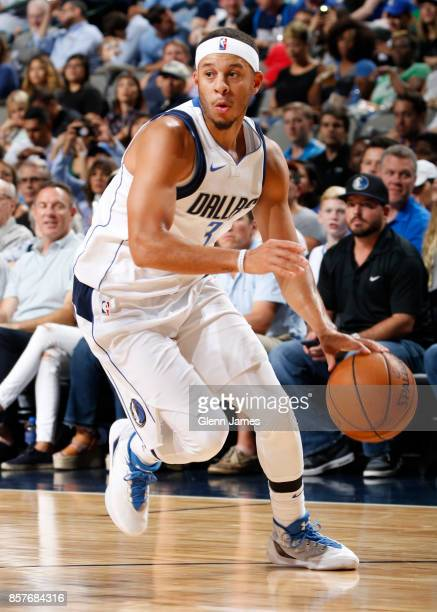 Seth Curry of the Dallas Mavericks handles the ball against the Chicago Bulls on October 4 2017 at the American Airlines Center in Dallas Texas NOTE...