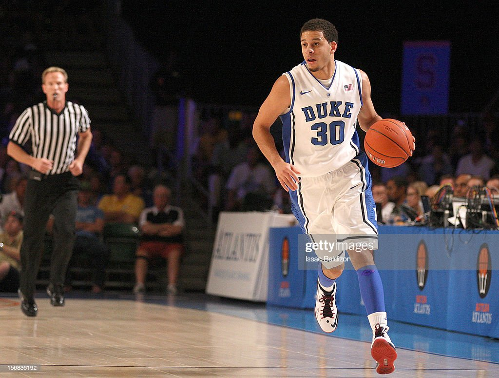 Seth Curry #30 of the Duke Blue Devils dribbles up court during the Battle 4 Atlantis tournament against the Minnesota Goophers at Atlantis Resort on November 22, 2012 in Nassau, Paradise Island, Bahamas.