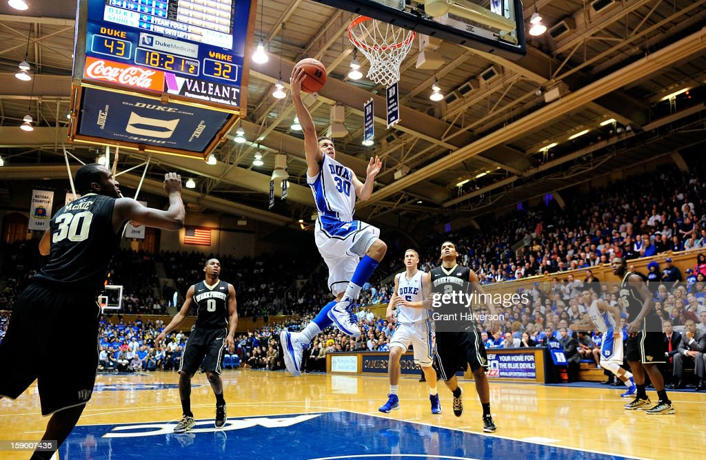 Seth Curry #30 of the Duke Blue Devils drives to the basket for 2 of his 22 points against the Wake Forest Demon Deacons during play at Cameron Indoor Stadium on January 5, 2013 in Durham, North Carolina. Duke won 80-62.