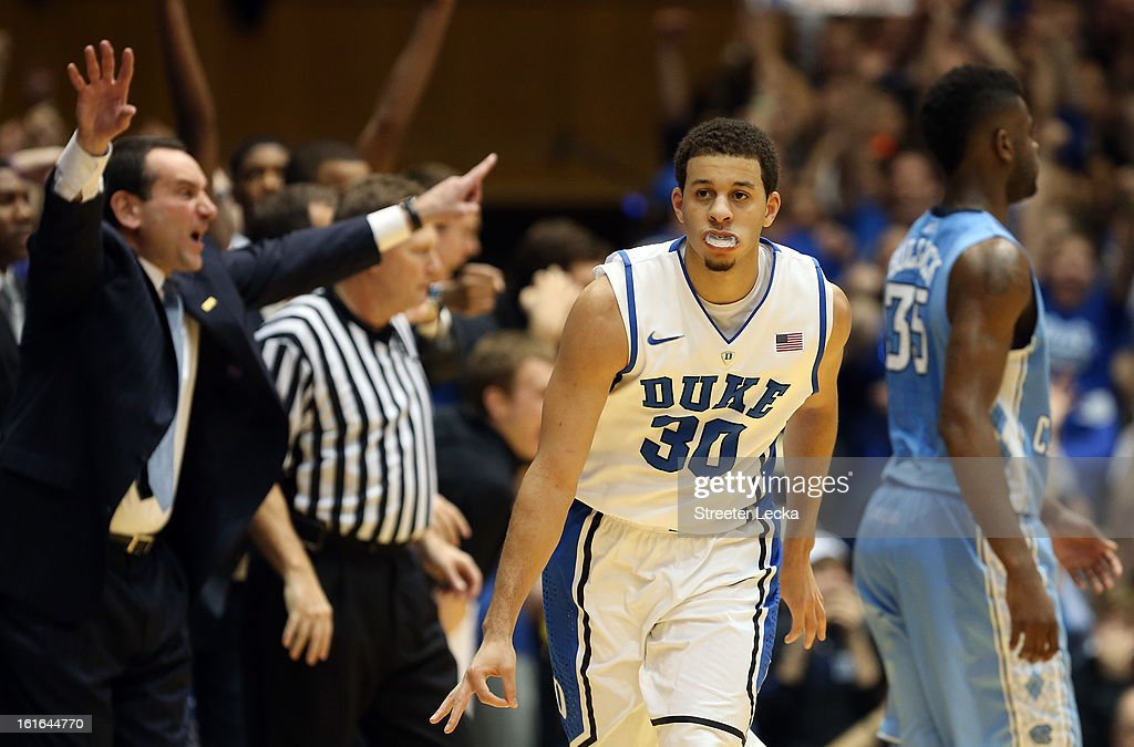 Seth Curry #30 of the Duke Blue Devils reacts after a basket during their game against the North Carolina Tar Heels at Cameron Indoor Stadium on February 13, 2013 in Durham, North Carolina.