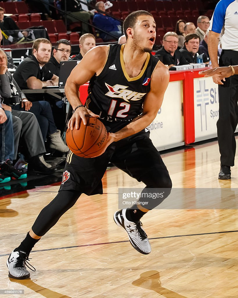 <a gi-track='captionPersonalityLinkClicked' href=/galleries/search?phrase=Seth+Curry&family=editorial&specificpeople=5945068 ng-click='$event.stopPropagation()'>Seth Curry</a> #12 of the Erie Bayhawks moves the ball during an NBA D-League game against the Idaho Stampede on November 14, 2014 at CenturyLink Arena in Boise, Idaho.