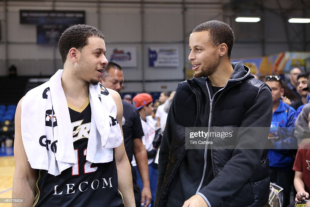 <a gi-track='captionPersonalityLinkClicked' href=/galleries/search?phrase=Seth+Curry&family=editorial&specificpeople=5945068 ng-click='$event.stopPropagation()'>Seth Curry</a> of the Erie Bayhawks talks to his brother <a gi-track='captionPersonalityLinkClicked' href=/galleries/search?phrase=Stephen+Curry+-+Basketball+Player&family=editorial&specificpeople=5040623 ng-click='$event.stopPropagation()'>Stephen Curry</a> after the win against the Iowa Energy during the NBA D-League Showcase game on January 18, 2015 at Kaiser Permanente Arena in Santa Cruz, California.