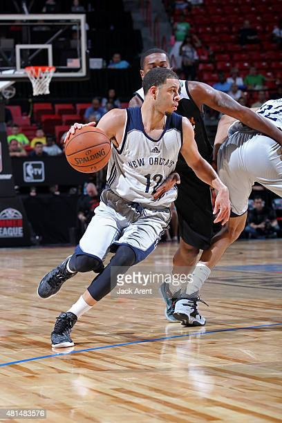 Seth Curry of the New Orleans Pelicans drives against the Phoenix Suns on July 19 2015 at the Thomas Mack Center in Las Vegas Nevada NOTE TO USER...