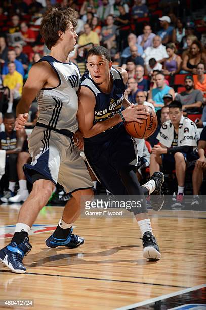 Seth Curry of the New Orleans Pelicans drives to the basket against the Dallas Mavericks on July 11 2015 at the Cox Pavilion in Las Vegas Nevada NOTE...