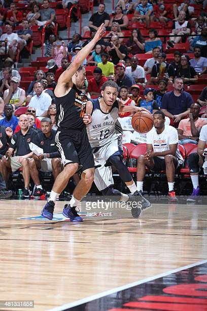 Seth Curry of the New Orleans Pelicans drives to the basket against the Phoenix Suns on July 19 2015 at the Thomas Mack Center in Las Vegas Nevada...