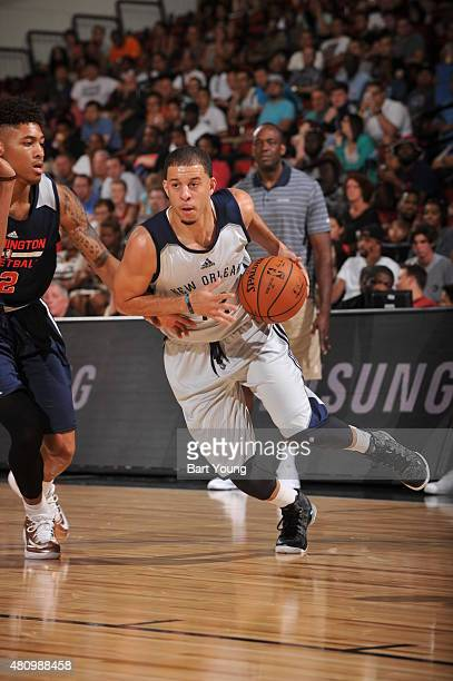 Seth Curry of the New Orleans Pelicans handles the ball against the Washington Wizards on July 16 2015 at The Cox Pavilion in Las Vegas Nevada NOTE...