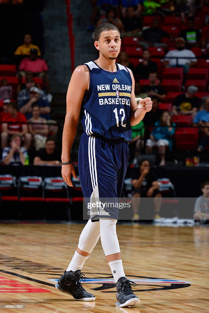 <a gi-track='captionPersonalityLinkClicked' href=/galleries/search?phrase=Seth+Curry&family=editorial&specificpeople=5945068 ng-click='$event.stopPropagation()'>Seth Curry</a> #12 of the New Orleans Pelicans reacts to a play against the Brooklyn Nets during the 2015 NBA Las Vegas Summer League game on July 13, 2015 at the Thomas & Mack Center in Las Vegas, Nevada.