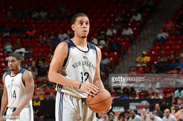 Seth Curry of the New Orleans Pelicans shoots a free throw against the Golden State Warriors during the 2015 NBA Las Vegas Summer League game on July...