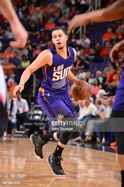 Seth Curry of the Phoenix Suns drives against the New York Knicks on March 15 2015 at US Airways Center in Phoenix Arizona NOTE TO USER User...