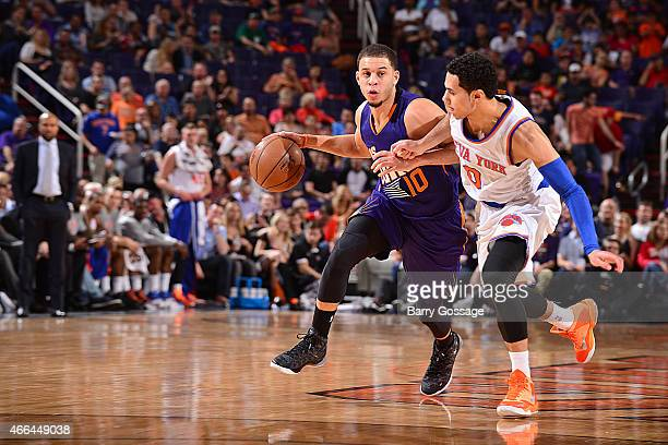 Seth Curry of the Phoenix Suns handles the ball against Shane Larkin of the New York Knicks on March 15 2015 at US Airways Center in Phoenix Arizona...